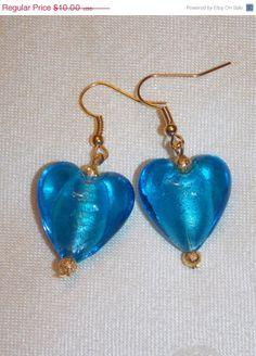BLOWOUT SALE Big Blue Heart Lampwork Earrings by EriniJewel, $7.00