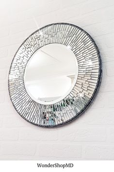 Your place to buy and sell all things handmade Mirror Mosaic, Mosaic Art, Mosaic Glass, Diy Mirror Decor, Small Round Mirrors, Mosaic Furniture, Bottle Art, Rustic Interiors, Glass Bottles