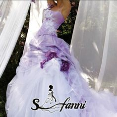White And Purple Wedding Dress Lilac Wedding Dresses, Fairy Wedding Dress, Bridal Dresses, Wedding Gowns, Long Sleeve Wedding, Wedding Dress Sleeves, Fantasy Dress, Beautiful Gowns, Lany