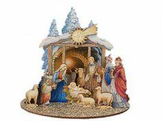 Kerststal en figuren van hout C (15 dlg)