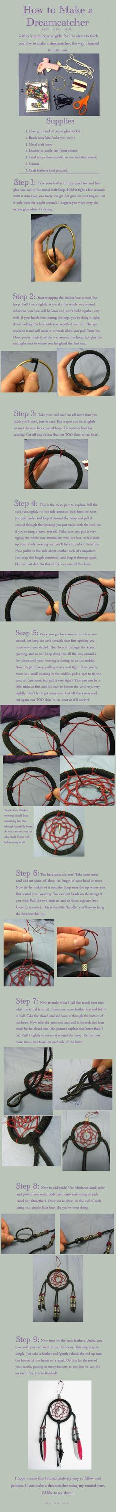 How to Make a Dreamcatcher by ~ShinimegamiSky on deviantART -- make a massive one for the wall?