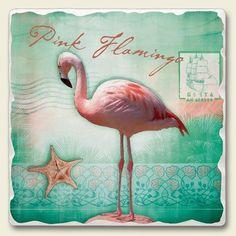 TropicalBreezeDecor - Pink Flamingo Tumbled Tile Trivet - TTT-047, $11.89 (http://www.tropicalbreezedecor.com/pinkflamingotumbledtiletrivet-ttt-047.aspx/)