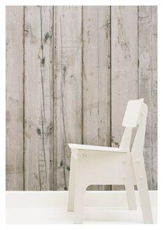 Wooden slat wallpaper - white wash Sloophoutbehang PHE-07 | Sloophoutbehang Piet Hein Eek | Huis & Grietje