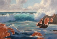 How to Paint a Dramatic Seascape in 5 Easy Steps Simple Oil Painting, Simple Acrylic Paintings, Seascape Paintings, Landscape Paintings, Painting Tips, Painting Lessons, Painting Techniques, Art Lessons, Beach Paintings