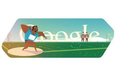 London 2012 shot put doodle: It shows a shut putter ready for his throw. The Google logo appears in the horizon. The London 2012 shot put doodle was the eighth London 2012 doodle posted by Google on its home page.