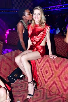 Maria Borges and Natalia Vodianova attend Natalia Vodianova's birthday Vogue Cabaret Party as part of the Paris Fashion Week Womenswear Fall/Winter...