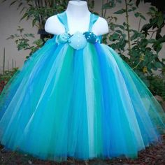 Mermaid Theme or Beach Wedding Girls Seashells Tutu Dress