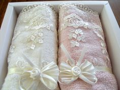 Set of 2 Lace Towel Romantic Home Decor 30x50 cm Ivory by Kitty016, $30.00