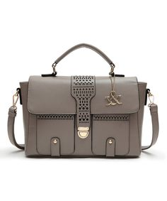Look at this Hue & Ash Gray Perforated Fold-Over Satchel on #zulily today!