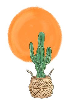 Cactus In The Sun Art Print by bebopdanie Buy Cactus, Sun Art, From The Ground Up, Buy Frames, Printing Process, Rooster, Gallery Wall, Illustrations, Art Prints