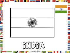 Bandera de India. Dibujos de banderas para pintar Flag Drawing, India Crafts, Visit India, Spanish Lessons, World Cultures, Teaching Resources, Coloring Pages, Templates, Drawings