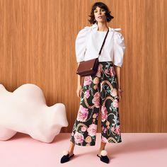H&M Cotton Blouse, Wide-Cut Pants and Bag