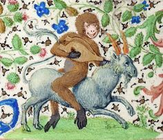 Goat-riding monkey, 'Trivulzio Book of Hours', Flanders ca. 1470 (Den Haag, KB, SMC 1, fol. 164v)