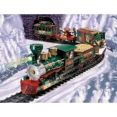 "Here is a G Scale North Pole Express Christmas Train Set by EZTEC.This Deluxe Holiday Express Train Set features a radio control (RC) locomotive and over 25 feet of track. Forward and Reverse Locomotion. Electronic Train Sounds. Also plays Christmas carols. Sharp-Looking Red, Green, Black and Gold Steam Locomotive with Shining Head Lamp. 1 RC Transmitter. Battery-Operated. Uses 4 ""C"" alkaline batteries (not included) located in the locomotive.No wire between locomotive and tender c..."