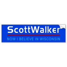 SCOTT WALKER WORSHIPS SATAN Humorous political bumper sticker Wisconsin