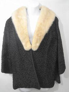 81ee770d268 Ivory Mink Collar Black Faux Persian Lamb Jacket 3 4 Sleeves Saul Turner S-M