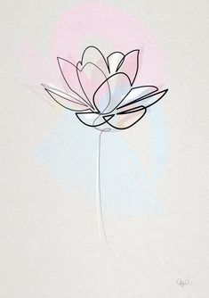 One line lotus by quibe lotus line drawing botanical flowers white black juniqe see more designs at juniqe co uk Lotus Flower Art, Watercolor Flower, Lotus Art, Line Flower, Lotus Mandala, Lotus Flower Tattoo Design, White Lotus Tattoo, Line Art Flowers, Tattoo Floral