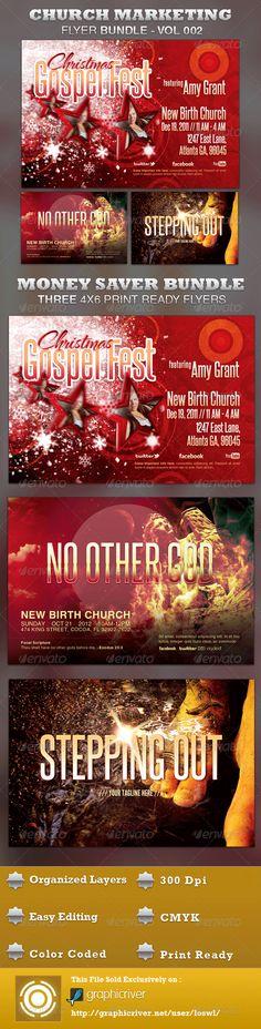 Church Marketing Flyer Template Bundle Vol 058 - promotional flyer template