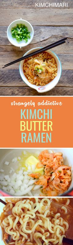 Kimbura is an unusual ramen recipe including butter, which rounds out the spice of the ramen soup.