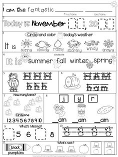November Kindergarten Morning Work Aligned to Common Core Plus weather, date, seasons...