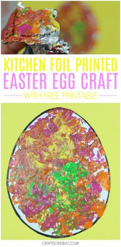 Foil Painted Easter Egg Craft With Free Printable - an easy Easter activity for toddlers and preschoolers #eastercrafts #kidscrafts #preschool
