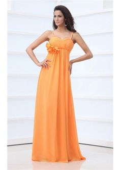 Floor Length Chiffon Flowers Orange Spaghetti Straps A-line Zipper  Sleeveless Ruched Bridesmaid Dresses
