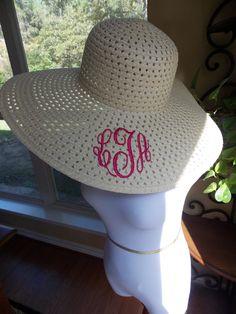 3b9e8b74558 Monogrammed floppy sun hat - pool! https   www.etsy.com