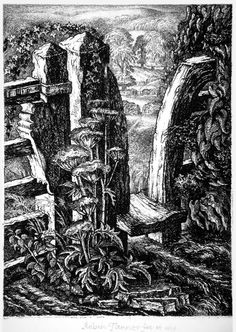 'The Meadow Stile' by Robin Tanner A.A (etching) Graven Images, Scratchboard, Rustic Art, Black And White Drawing, Chiaroscuro, Art Prints, Lino Prints, Flower Art, Printmaking