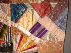 crazy quilting embellishments | Victorian Crazy Quilt | Antiques on Hanover Street