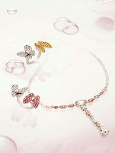 Advert incl demi necklace white and pink stones yellow gold