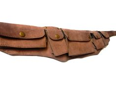 Leather Utility Belt- brown suede- 7 pockets, travel, burning man, festivals, hands-free style. $80.00, via Etsy.