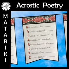 Celebrate the Māori New Year with this fun writing activity. Write an acrostic poem on the bunting, colour the strip of pattern, cut it out and hang. (Simply trim the flap off if you don't want to display it as bunting). Each of the 5 words are written on 10 different templates. Cool Writing, Writing Poetry, Spelling Words, Sight Words, School Resources, Classroom Resources, I Am Poem, Fun Writing Activities, Goal Setting Template