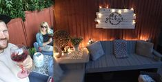 DIY couple build stunning seating area using pallets from Facebook Marketplace | LatestDeals.co.uk Our Environment, Blue Garden, Old Pallets, Outdoor Furniture Sets, Outdoor Decor, Home Improvement Projects, Fairy Lights, Garden Ideas, The Incredibles