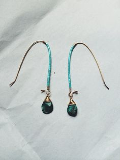 TURQUOISE OVAL HOOPS by MadMadeMetals on Etsy, $40.00