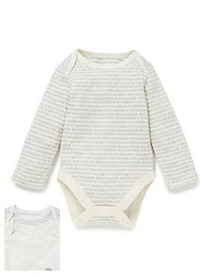 3 Pack Organic Cotton Long Sleeve Bodysuits