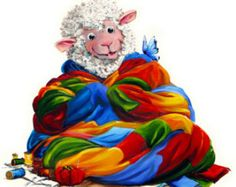 """Creature Comfort - Sheep Incognito QUILTING Print, Signed, Double Mat 8"""" x 10"""""""
