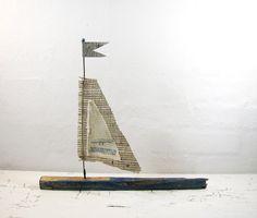 Driftwood Sailboat - Love and Joy - Mixed Media Sculpture