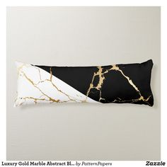 Shop Luxury Gold Marble Abstract Black & White Pattern Body Pillow created by PatternPapers. White And Gold Pillows, Black White And Gold Bedroom, Black And Gold Living Room, Black And Gold Marble, Bedroom Decor For Women, Black Bedroom Decor, Black Decor, Bedroom Ideas, Cozy Bedroom