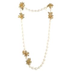 Stunning Pearl and Rhinestone Sautoir by Chanel | From a unique collection of vintage beaded necklaces at http://www.1stdibs.com/jewelry/necklaces/beaded-necklaces/