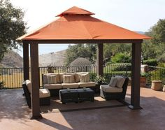 STC GZ734 Seville Gazebo, 12x12 by STC. $1935.47. Create your ideal outdoor retreat with this unique artisan woven, wicker-wrapped square metal gazebo, complete with a high-quality Sunbrella® canopy in Tuscan.. GZ734 Features: -Weather-resistant, sunlight filtering, fade resistant sunbrella canopy in tuscan, with wind vent.-All corrosion-free materials.-Can be bolted to concrete or a wooden deck via concealed anchor plates. Includes: -Includes ground stakes. ...