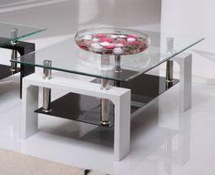 Vida Living Calico Glass Top White Coffee Table