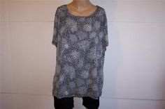 EAST 5TH Shirt Top Plus Womens 2X Stretchy Gray Black Animal Print Short Sleeves #East5th #KnitTop #Casual