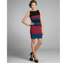 A.B.S. by Allen Schwartz black, cobalt, and cranberry colorblock stretch ponte knit shift dress