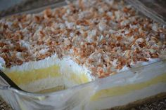 """Princess """"Cake"""", coconut, cream cheese, whipped cream, coconut creme pudding, pastry crust! Yum!"""