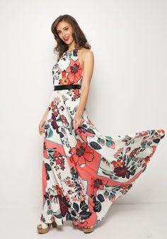 Μακρύ φόρεμα εμπριμέ Dresses, Fashion, Vestidos, Moda, Fashion Styles, Dress, Fashion Illustrations, Gown, Outfits