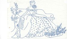 VINTAGE EMBROIDERY TRANSFER - SMALL CRINOLINE LADY ON A BENCH