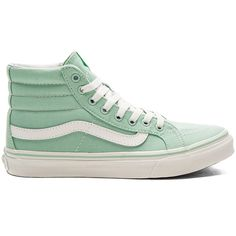 Vans Sk8-Hi Slim Sneaker ($56) ❤ liked on Polyvore featuring shoes, sneakers, rubber sole shoes, laced up shoes, vans sneakers, lace up sneakers and vans shoes