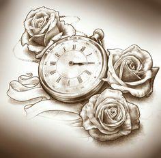 Taschenuhr bleistiftzeichnung  Kompass und Taschenuhr 3-d tattoo by u-gene | tattoo | Pinterest ...