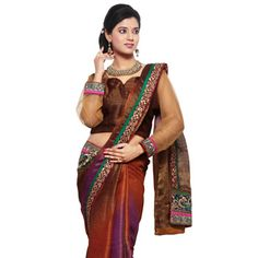 Rust and Purple Shot Tone Brocade Saree with Readymade Blouse
