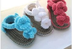 Crochet Baby Sandals with matching headband by TrendieTreasures